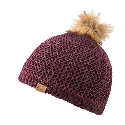 כובע נשים צמר מרינו כובע צמר מרינו עם הגנת פליס פנימית לתחושה נעימה והגברת הבידוד +פונפון דמוי פרווה של GoNature